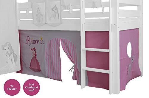 XXL Discount Vorhang 3-teilig 100% Baumwolle Prinzessin Rosa pink inkl Klettband für Kinderzimmer Hochbett Etagenbett Kinderbett Gardine Stoffvorhang Rosa/Weiß, Prinzessin