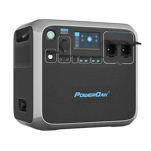 PowerOak Bluetti AC200P 2000Wh Generador Solar Portátil con Inversor de 2000W y Salidas AC/DC/USB, Generador Electrico Solar Power Station con Batería de LiFePO4 para Camping y Autocaravana