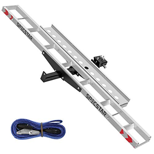 SPECSTAR Heavy Duty 450 Lbs Capacity Aluminum Motorcycle Carrier Anti Tilt Hitch Mounted Scooter Dirt Bike Rack with Loading Ramp and Locking Device