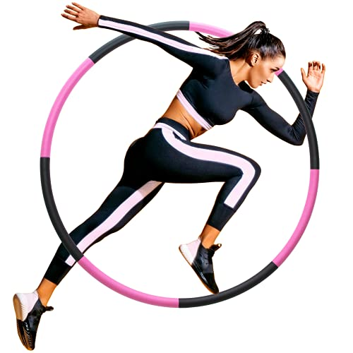 Weighted Sports Hoop Adult - Fitness Exercise Hoop for Beginner Women Men - Detachable and Portable Core Stimulator - Waist and Abdominal Strength Trainer - Holahoop with Carry Bag