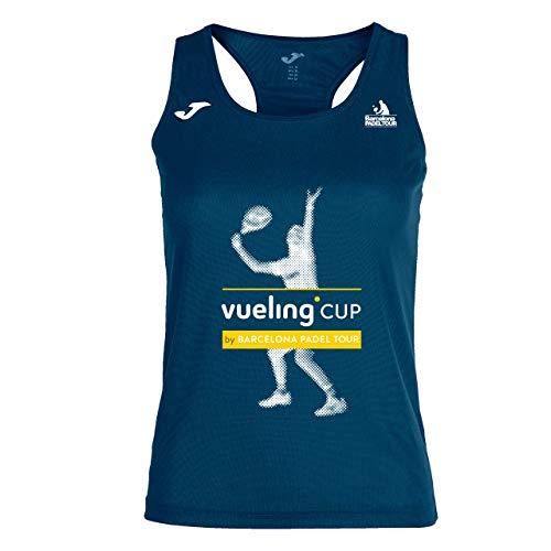 Barcelona Padel Tour | Camiseta Técnica de Tirante Ancho para Mujer Joma Vueling Cup | En Tejido Micro Mesh Transpirable y Estampación Especial de Pádel | Ropa Deportiva Azul Marino L