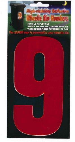Poubelle à roulettes Numéros autocollants réfléchissants et hivis Rouge pour maison ou poubelles à roulettes Motif