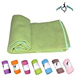 AngelBeauty Hot Yoga Towel with Carry Bag - Microfiber Non Slip Skidless Yoga Mat Towels for Yoga, Exercise, Fitness, Pilates (Green)