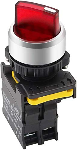 Tnisesm - Interruttore rotativo a LED, 110 – 220 V, 22 mm, 1 NO a 2 posizioni, impermeabile, IP65, 10 A, 600 V, LA155-A1-10XD-R