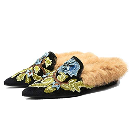 Fericzot Slip On Loafers Womens Embroidery Mule Shoes with Plush Lamb Fur Velvet Slippers Backless Pointed Toe Mule Slides Black-Slipper 8