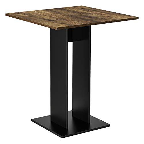 [en.casa] Küchentisch Quadratisch 65 x 65 x 78 cm Säulentisch Esszimmertisch aus Spanplatte Speisetisch Tisch Walnuss-Optik Schwarz