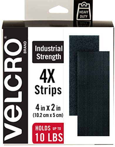 VELCRO Brand Heavy Duty Fasteners | 4x2 Inch Strips 4 Sets | Holds 10