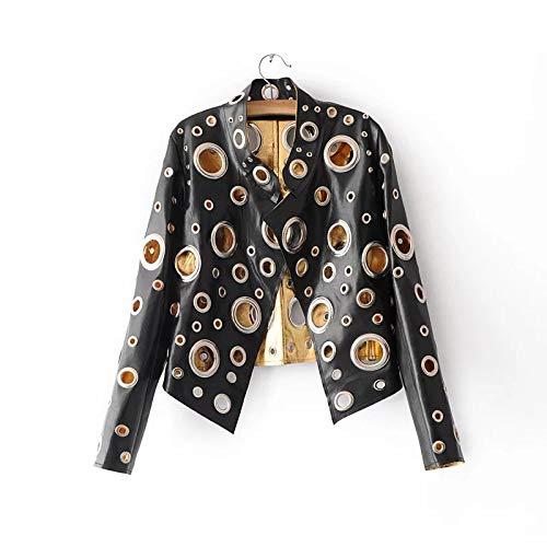 DDPD Chaqueta de cuero de la PU del cuello del soporte de las mujeres - Hollow Metal Color chaqueta de la motocicleta corta Mujer*negro*M