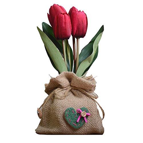 Arrogant - Mini fiori artificiali in vaso di stoffa, tulipani finti per decorazione domestica, realistico naturale, per tavolo e scrivania, Rosso, 8*8*15cm