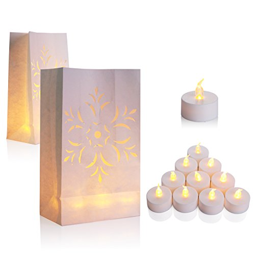 AceList 50 Set Luminaries Bag Candles Bags Flameless Luminary for Wedding Party Event - Flower