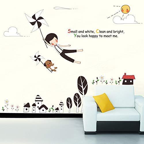 TAOZIAA Comic Dorf Windmühle Fliegende Mädchen Cartoon Wandaufkleber Baum Blume Wolken Kinderzimmer Wohnzimmer Diy Entfernbare Literarische Abziehbilder