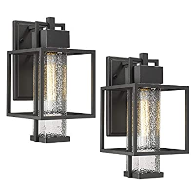 Osimir Outdoor Wall Sconce 2 Pack, Farmhouse Style Exterior Wall Lantern in Black Finish with Bubble Glass Lamp Shade, 15 inch Modern Outdoor Lighting Fixtures 2375/1WL-2PK