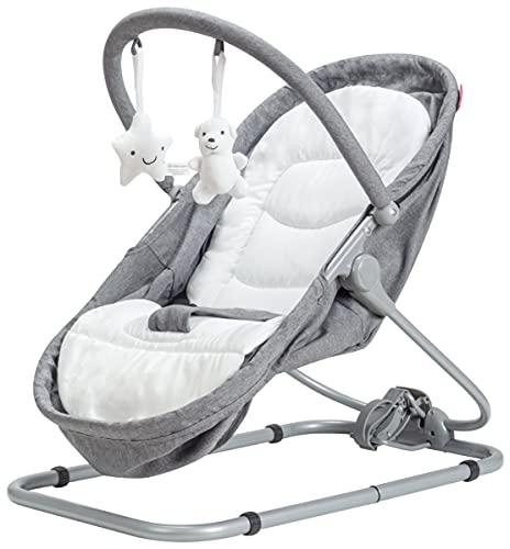 Moby-System Baby Türsteher, Kleinkind Rocker Baby Leichter gemütlicher Türsteher Stuhl, Relax & Play Schaukelwiege, Swinger, Kinderbett, faltbar, Liegeposition, Grau