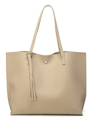 Women's Soft Faux Leather Tote Shoulder Bag from Dreubea, Big Capacity Tassel Handbag Light Khaki