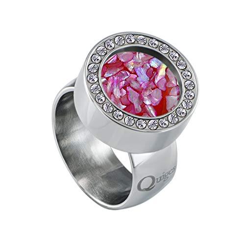 Quiges Silber Edelstahl Ring mit Zirkonia 12mm Mini Coin Halter Wechselring und Austauschbar Rosa Flocken Muschel Coin in Größe 20mm
