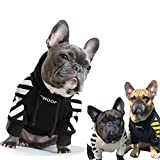 ANXIANG Pet Dog Clothes for French Bulldog Adidog Stripe Pattern Dog Hoodie Pet Dog Clothes Dog Jacket for French Bulldog (Color : Black, Size : XXL)