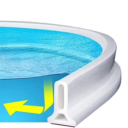 Tira impermeable autoadhesiva,Ducha presa Barrera de agua de silicona Cuarto húmedo Cuarto de baño piso Tira de sellado de la puerta La presa de la ducha evita el desbordamiento del agua (50CM,Blanco)