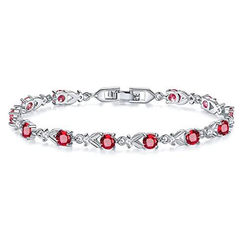 EXINOX Pulsera Cristales Preciosos | Mujer | Elegantes Piedras Brillantes | Color Plata (Rubí)