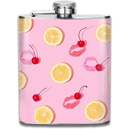Cherry Lemon Fashion Tragbare 304 Edelstahl Auslaufsicher 7 Unzen Topf Flachmann Reise Camping Flagon Glaskolben Kleines Geschenk