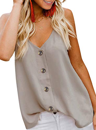 BLENCOT Women#039s Casual Sleeveless Tops Button Down V Neck Loose Flowy Tank Tops Shirts and Blouses Apricot M