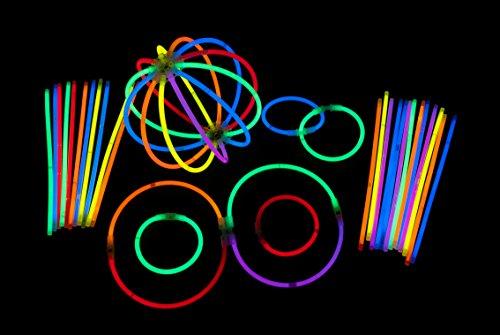 ETU24 100 Premium Knicklichter 200 x 5mm inkl. 100 Verbinder Leuchtstäbe Glowstick Armreifen Partylichter LED Luftballon Tischdekroration