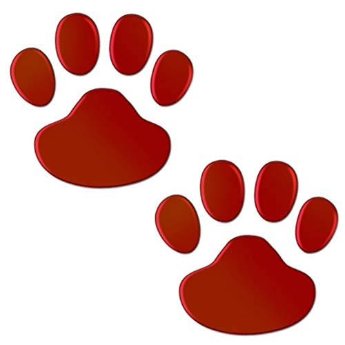 2Pcs/Set Car Sticker Cool Design Paw 3D Animal Dog Cat Bear Foot Prints Footprint Decal Car Stickers Silver Red Black Golden (Color Name : Red)