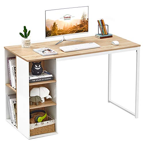 Computer Desk with Storage Shelves White Office Desk with Drawers Small Kids Writing Desk Student Study Table Modern Wood Pc Laptop Gaming Desk for Home Work, Oak with Metal Legs