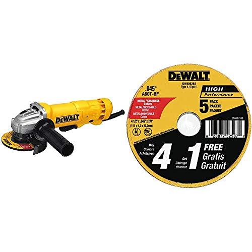 DEWALT Angle Grinder Tool, Paddle Switch, 4-1/2-Inch, 11-Amp (DWE402) & Cutting Wheel, General Purpose Metal Cutting, 4-1/2-Inch, 5-Pack (DW8062B5)