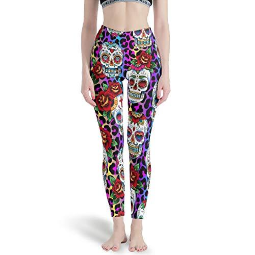 Ballbollbll Calavera - Pantalones de yoga para mujer con diseo de calavera de leopardo, cintura alta y control de barriga, sin costuras, para correr en la escuela, para uso diario, ocio, blanco, 3XL
