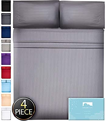 Queen Sheets Bed Sheets Queen Size - 4 Piece Sheets Queen Size Sheets Queen Bed Sheets Queen Sheet Set Queen Size Deep Pocket Queen Sheets Microfiber Sheets Queen Bedding Sets Stripe Gray