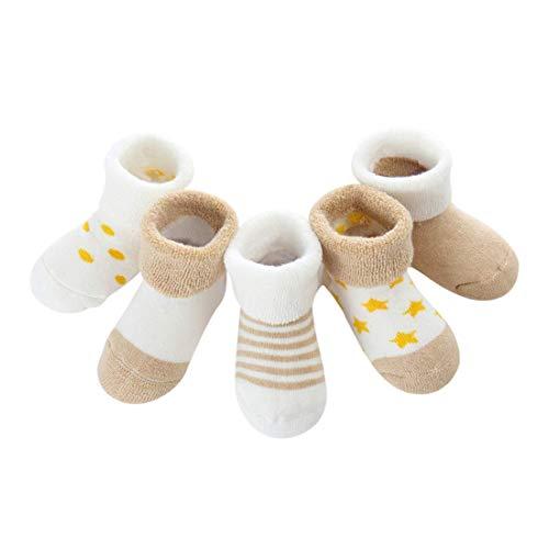 DEBAIJIA Niños Niñas Calcetines De Algodón Cómodo Suave Jogging Absorben el Sudor Antibacteriano Engrosamiento de otoño e invierno Color Caquil 1-3 Año viejo (Pack de 5 Pares)