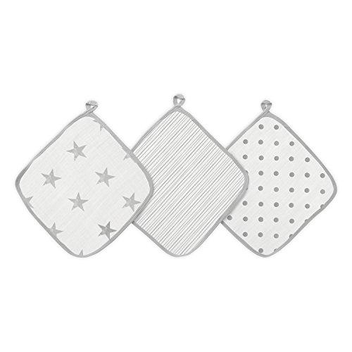 aden + anais™ essentials - Set de 3 débarbouillettes pour la toilette en mousseline 100% coton - Débarbouillette chic - Pratique - Douce - Accrochable - Garçon - Fille - Imprimé Dusty - 30 cm x 30 cm