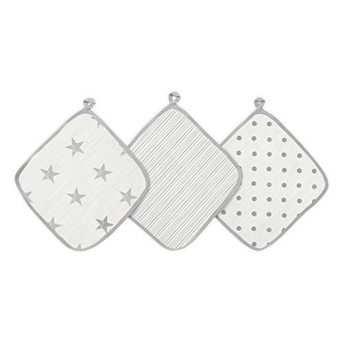 aden by aden + anais débarbouillettes pour la toilette en mousseline 100% coton, dusty 3-pack