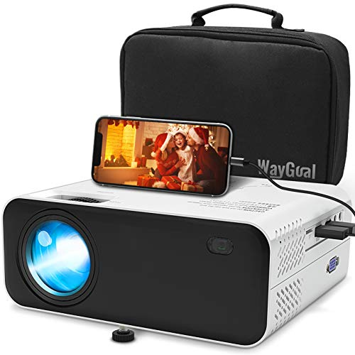 Mini Beamer Full HD, Waygoal Native 720P Heimkino Beamer, 5500 Lumen Projektor, 1080P Unterstützt tragbarer Video Projektor mit 60000 Stunden LED und 200 Display, kompatibel mit TV Stick, HDMI