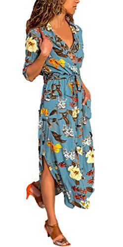 Klänningar damer långärmad vintage eleganta vardagsklänningar klassiska långärmad v-hals hög midja tryckt lös mode strandklänning maxiklänning kläder