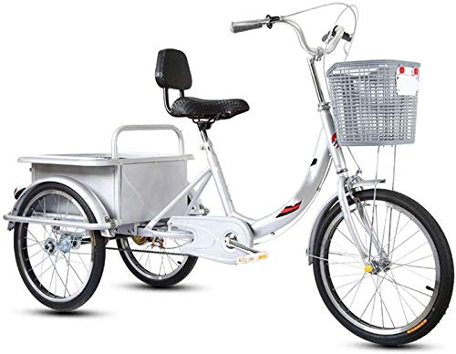 HKPLDE 20 Triciclo De Pulgadas para Adultos, Triciclo De Bicicleta para Adultos con Absorción De Impactos Tres-Bicicleta De Crucero con Ruedas con Cesta De Gran Tamaño Compras Deportes Ocio-Plata