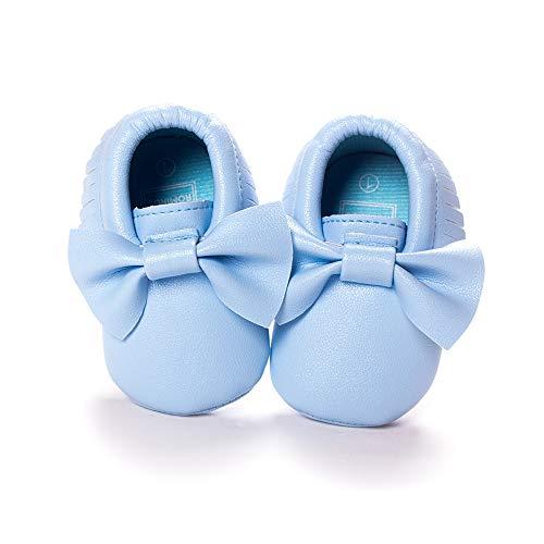 Morbuy Baby Schuhe PU Mädchen und Jungen Kleinkind Babyschuhe Neugeborene Fringed Bogen Anti-Rutsch Weiche Alleinige Krabbelschuhe Wanderer (13cm / 12-18 Monate, Hellblaue Schleife)