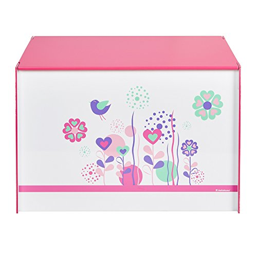 Worlds Apart Spielzeugkiste Blumen und Schmetterlingen Juguetero con diseño de Flores y pájaros, Tela, Blanco y Rosa, 39.50x60.00x39.50 cm