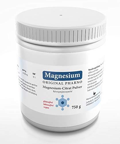 Magnesium-Citrat Pulver 750g - Original Pharno - 100% Pures Magnesiumcitrat ohne Zusätze - Für Muskeln, Nerven & Elektrolytbalance