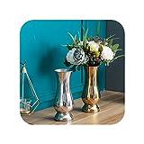 Jarrón de mesa de estilo chino moderno minimalista decoración artesanal, jarrón decorativo de acero inoxidable, jarrón de metal, 3 puntos 9 dorados