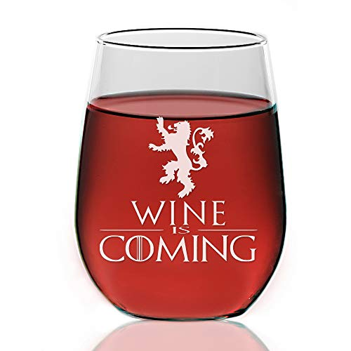 Chloe & Madison Coming, House Lannister Game Of Thrones Inspired Gift, 21 ounce, Stemless Wine Glass, Clear