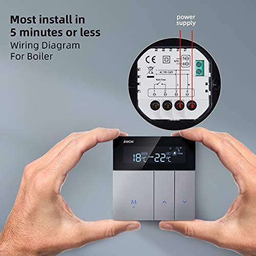 AWOW Termostato WiFi per Caldaia a Gas/Acqua,Termostato Intelligente Programmabile Con LCD Display,Controllo Remoto Smartphone Compatibile con Alexa/Google Home AC220V 3A(Compreso Scatola 503)