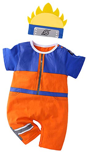 Bebkuebe Naruto Outfit Baby Costume, Cute Infant Toddler Onesie Cool Newborn Cosplay Romper Cartoon Pajamas Clothes (Orange, 3-6 Months)
