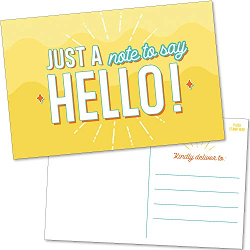50 Blank Bulk Hello Postcards - Positive, Fun and Colorful Just a Note Cards Pack for Friends, Kids, Teacher, Students and More to Say Thinking Of You and I Miss You