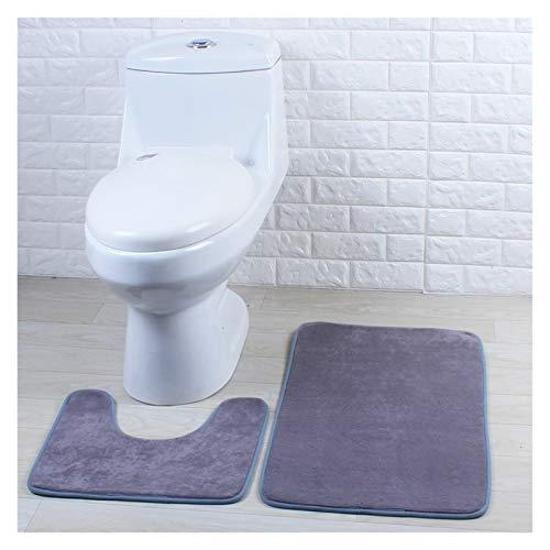 CMmin Alfombrillas para bañera Alfombras de baño de 2 Piezas Alfombras de baño de algodón Absorción de Agua, Estera de Inodoro, tapete en Forma de U, batería de baño Lavable