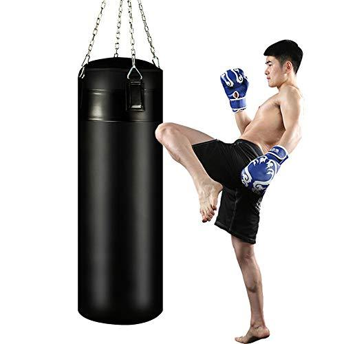 GYFHMY 39-Zoll-Boxsack aus schwerem Leder mit Kette - Boxübung für Leere Taschen - 360-Grad-Drehung ohne Verwicklungen - Ideal für Kickboxen Muay Thai Workout