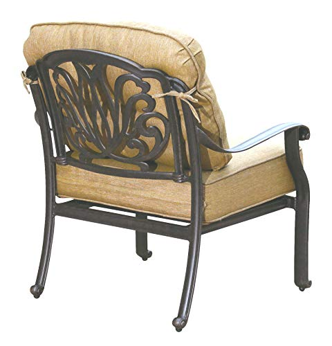 Darlee Cast Aluminum Elisabeth Club Chair with Cushions, Set of 4, Antique Bronze