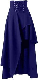 Macondoo Women Basic Lace Up High Waist Irregular-Hem Goth Skirts