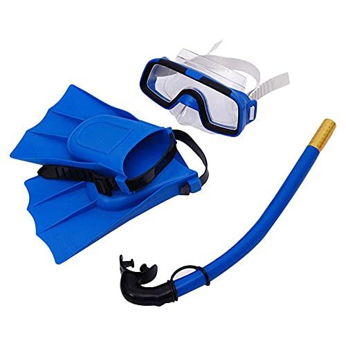 PPuujia Gafas de natación para niños, traje de buceo para niños, gafas de natación, tubo respiratorio, aletas de espejo ajustable, equipo de esnórquel para niños (color: 25 30 yardas)