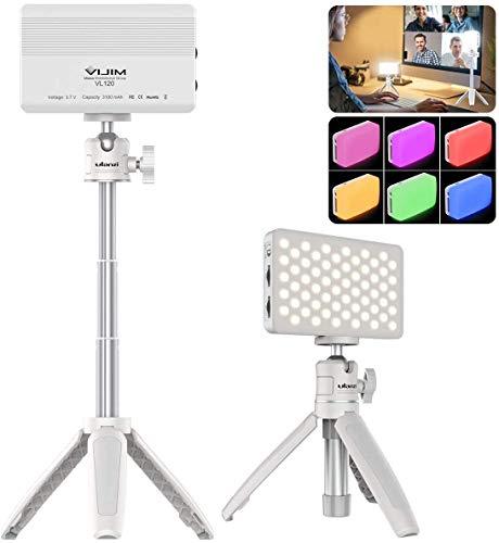 Iluminación de videoconferencia para ordenador portátil, luz de video LED con trípode extensible lámpara de mesa compatible con MacBook iPad Tablet computadora de escritorio Live Streaming